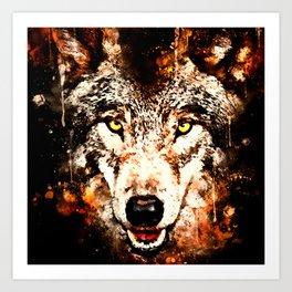 wolf threatening stare ws Art Print