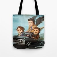 supernatural Tote Bags featuring Supernatural by RAVEFIRELL