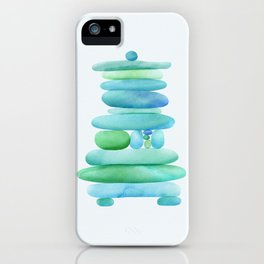 Sea Glass Cairn Watercolor iPhone Case