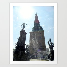 Fountain Outside Frederiksborg Palace  Art Print