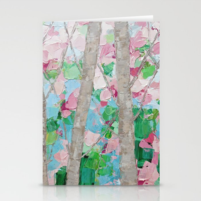 Dancing Cherry Blossom Trees Stationery Cards