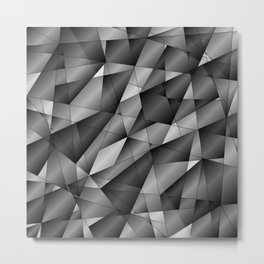 Exclusive monochrome pattern of chaotic black and white fragments of glass, metal and ice floes. Metal Print