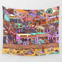 waldo Wall Tapestries featuring Fried n' Cheesy by Valeriya Volkova