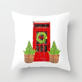 Red Christmas Door with Boxwood Wreath Throw Pillow
