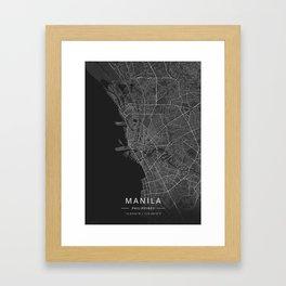 Manila, Philippines - Dark Map Gerahmter Kunstdruck