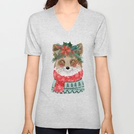 Christmas Fox with Winter floral crown Unisex V-Neck