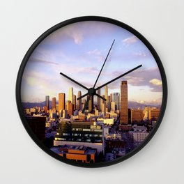 Los Angeles Skyline Sunset Wall Clock