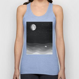 Moon phase, black and white, ocean Unisex Tank Top