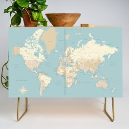 "Cream, brown and muted teal world map, ""Jett"" Credenza"