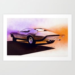 1971 Muscle Car Rendering Art Print