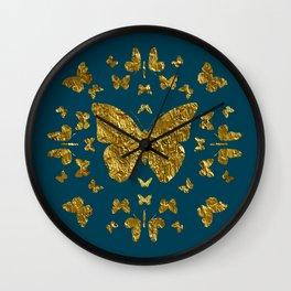 Butterfly kaleidoscope gold Wall Clock