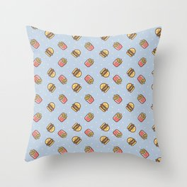 Cute pink brown blue funny fries burger food triangles pattern Throw Pillow