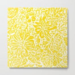 Gen Z Yellow Marigold Lino Cut Metal Print