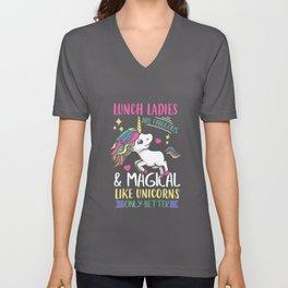 Womens Lunch Lady graphic I Magical School Unicorns Teacher Unisex V-Neck