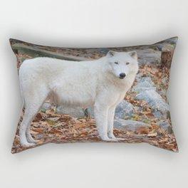 White Wolf in Autumn Rectangular Pillow