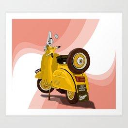 Vespa Vector yellow Art Print