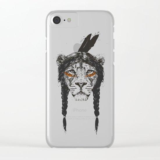 Warrior lion Clear iPhone Case