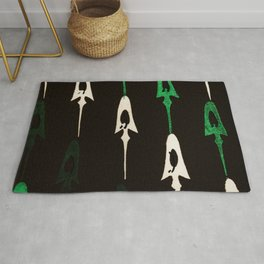 Green And White Arrows Stripes Japanese Shima-Shima Pattern Rug