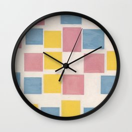 Piet Mondrian Exhibition Art Poster 1986 - Composition with color fields Wall Clock