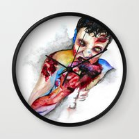 zombie Wall Clocks featuring Zombie by Camille Ratté