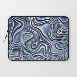 Light Pastel Blue White Abstract 3D Swirl Waves Pattern Laptop Sleeve