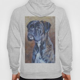 brindle BOXER dog art portrait from an original fine art painting by L.A.Shepard Hoody