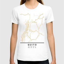 QUITO ECUADOR CITY STREET MAP ART T-shirt