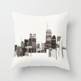 unfinished skyline Throw Pillow