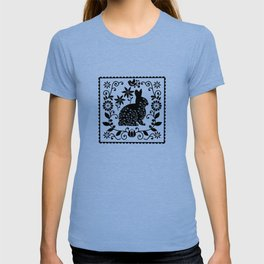 Woodland Folk Black And White Bunny Tile T-shirt