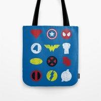 super heroes Tote Bags featuring Super Simple Heroes by Resistance