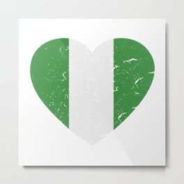 I Love Nigeria Heart  TShirt Football Shirt Soccer Gift Idea Metal Print
