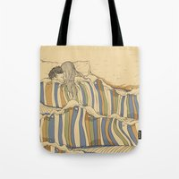 minimal Tote Bags featuring Ocean of love by Huebucket