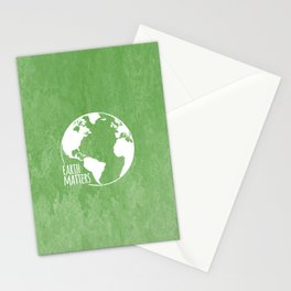 Earth Matters - Earth Day - White Outline On Green Grunge 01 Stationery Cards