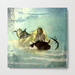 Beautiful mermaid with jumping dolphin Metal Print