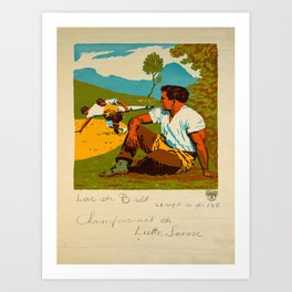 Advertisement championnat de lutte suisse lac de Art Print