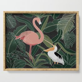 Flamingo and Pelican Serving Tray