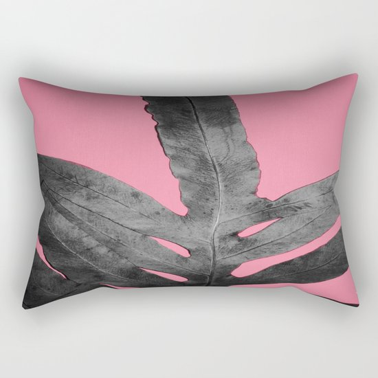 Green Fern on Pink - Black Shadow Rectangular Pillow