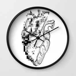 Pixel Heart Drawing Design Wall Clock