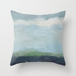 Navy Teal Aqua Sky Blue Green Abstract Wall Art, Painting Art, Nature Horizon, Modern Wall Throw Pillow