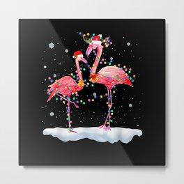 Flamingo Christmas Tree Santa Hat Xmas Light Merry Metal Print