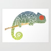 chameleon Art Prints featuring Chameleon by soycocon