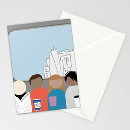 Squished on a subway Stationery Cards