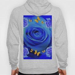 FLUTTERING YELLOW BUTTERFLIES BLUE ROSE FANTASY ART Hoody