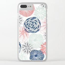 Floral Pattern in Coral Red, Navy Blue and Aqua Clear iPhone Case