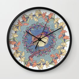 Small Bird With Wildflowers And Holly Wreath Wall Clock