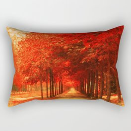 Tree Alley Autumn painted Rectangular Pillow