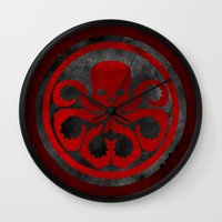 hydra Wall Clocks featuring Captain Hydra by Some_Designs