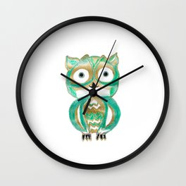 Owl Fun #4 #mint #green #gold #drawing #decor #art #society6 Wall Clock