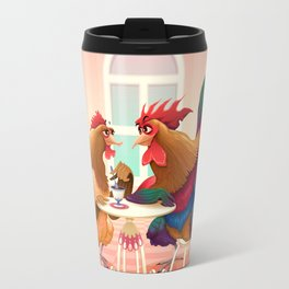 Hen and rooster in a cafè Travel Mug