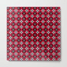 Ornate Red & Black Flower Pattern Metal Print